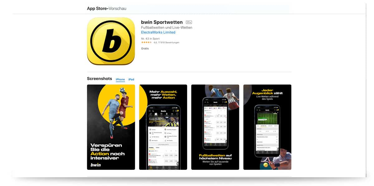Bwin App für das iPhone im iTunes Store