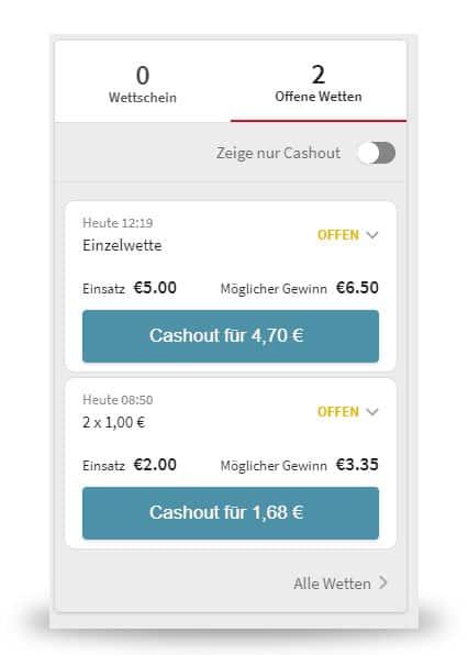 Tipico Cash Out Wettschein