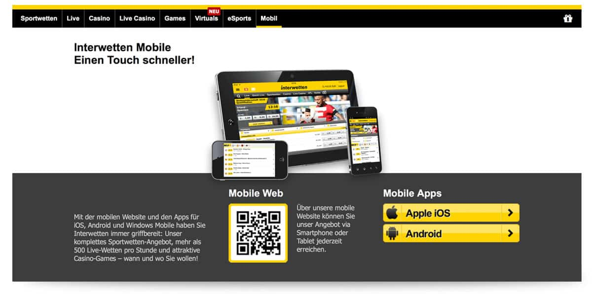 Download Android App von Interwetten