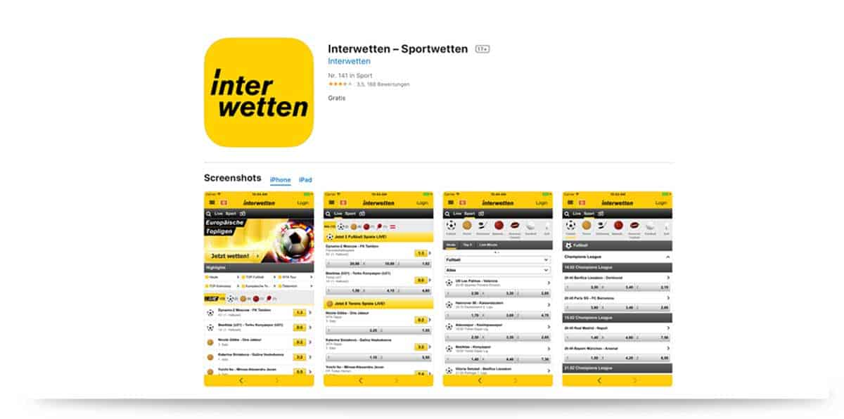 Interwetten App in Apple Store