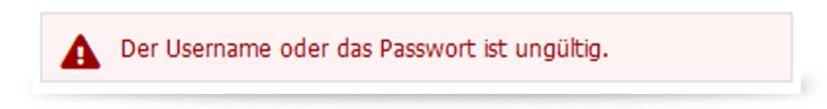 Fehlermeldung falsche Passwort Interwetten