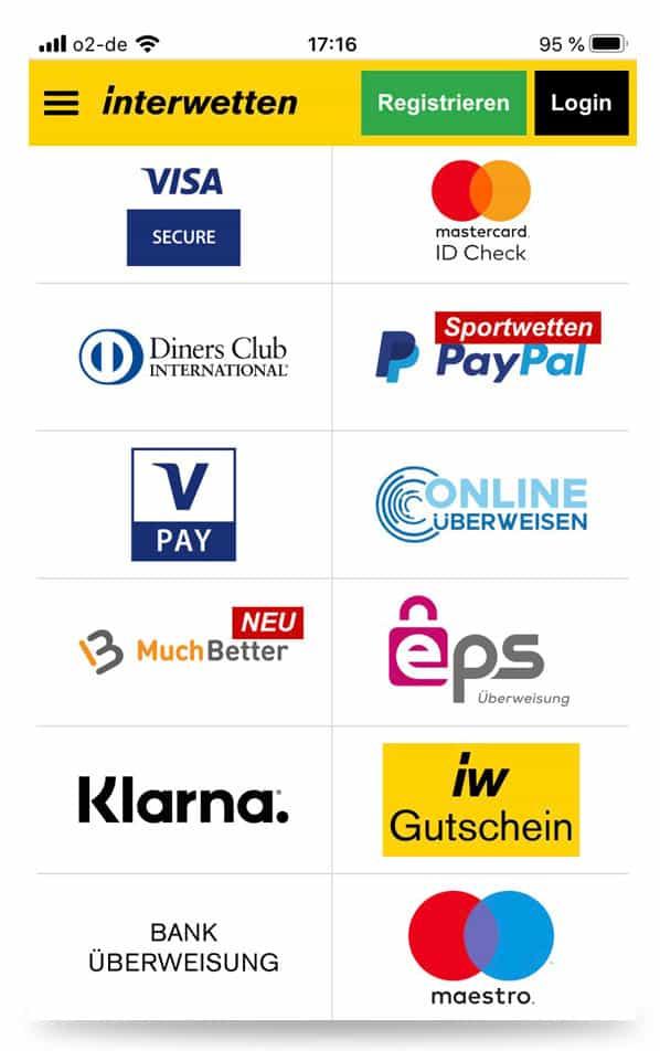 Zahlungsmöglichkeiten Interwetten App