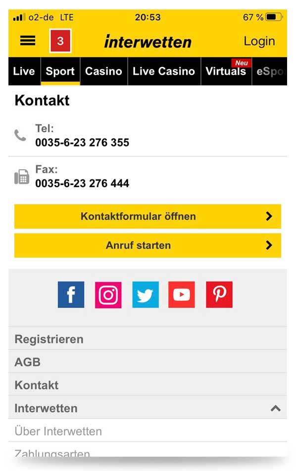 Kontaktmöglichkeit Interwetten App