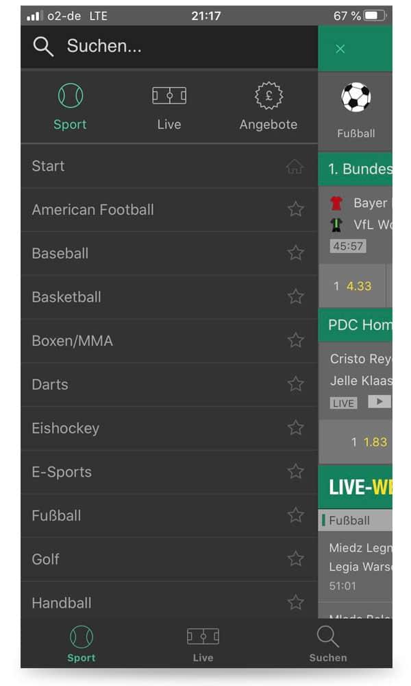 mobile Auswahl Sportarten bet365 App