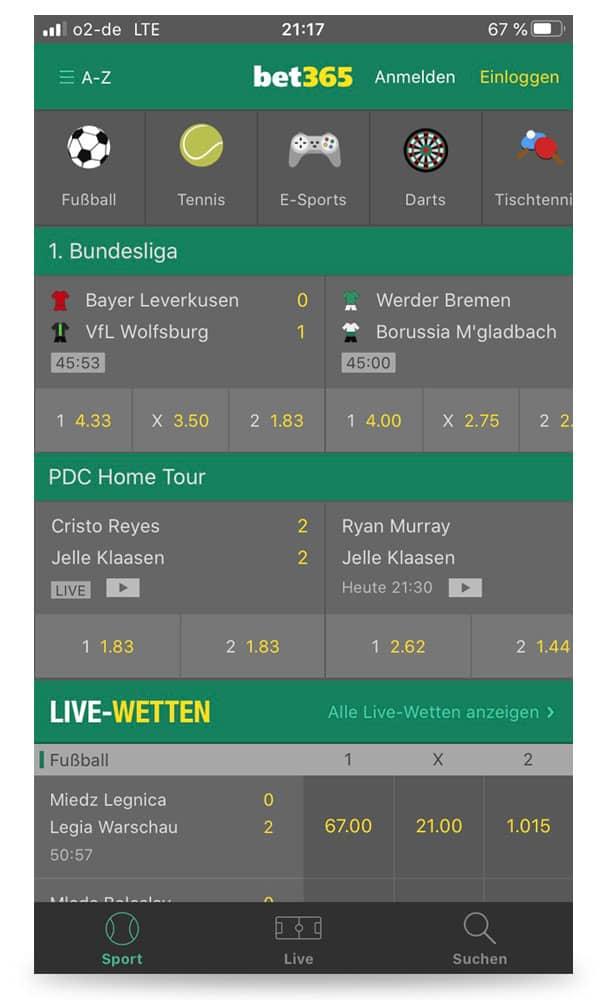 Startbildschirm der iOS App von bet365