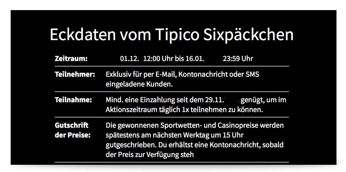 Teilnahmebedingungen von der Tipico Aktion Sixpäckchen.