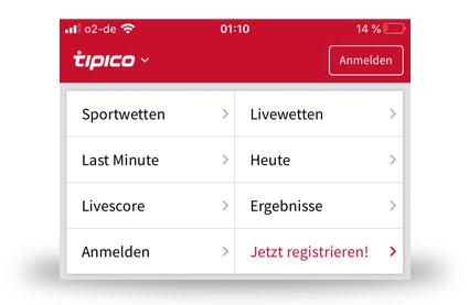 Menü der iOS Tipico App
