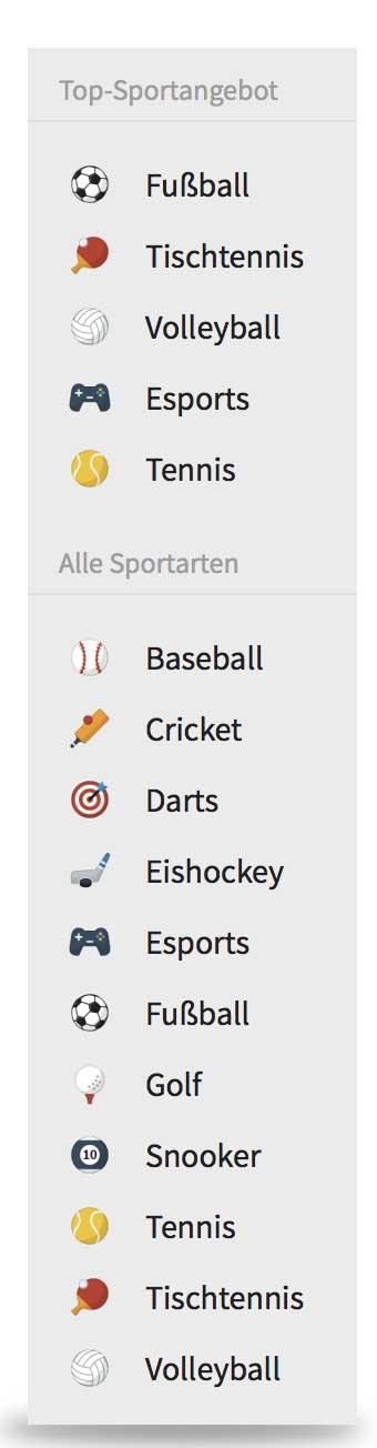 Tipico Auswahl Sportarten