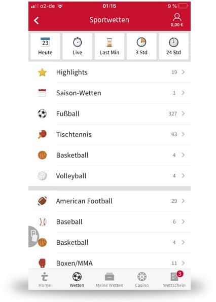 Tipico Wettangebot mobile auf dem Handy
