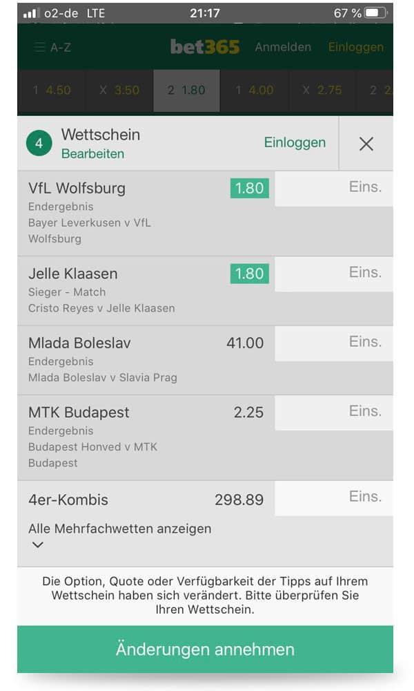 Wettschein in der bet365 iphone App