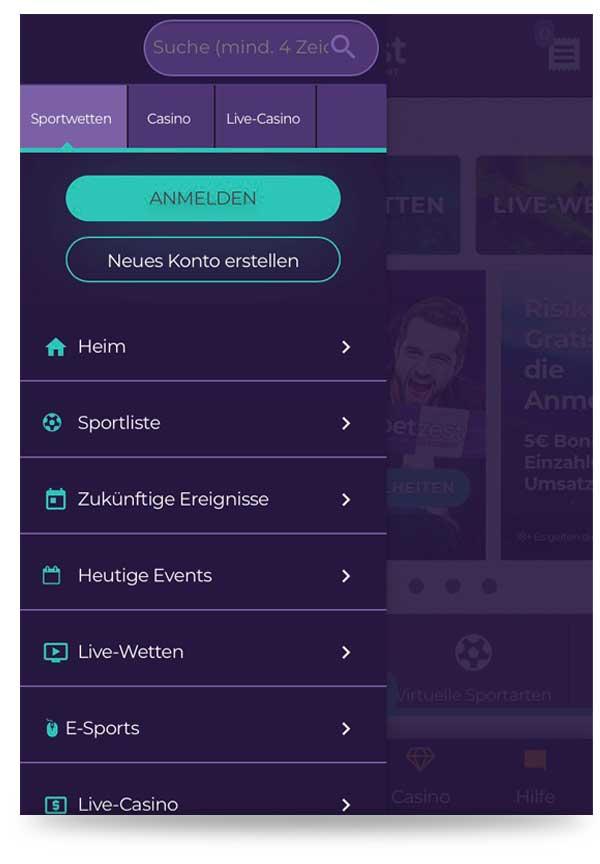 Menü Betzest App