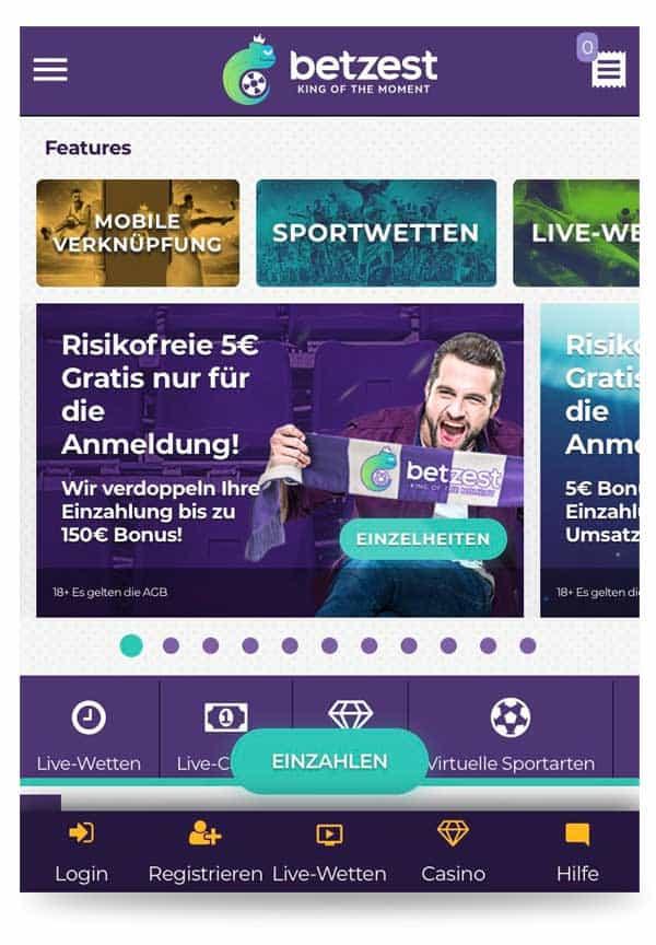 Mobile Startseite von betzest