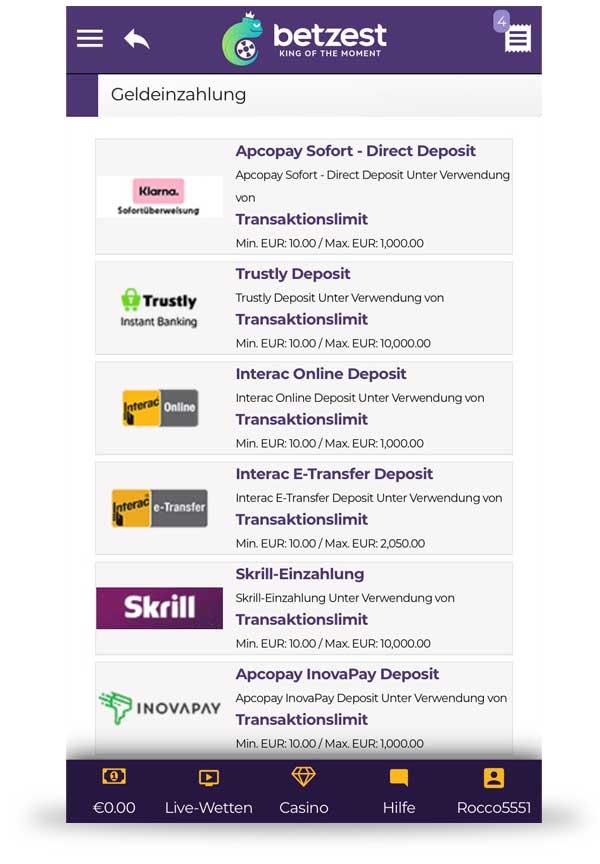 Betzest Einzahlung App