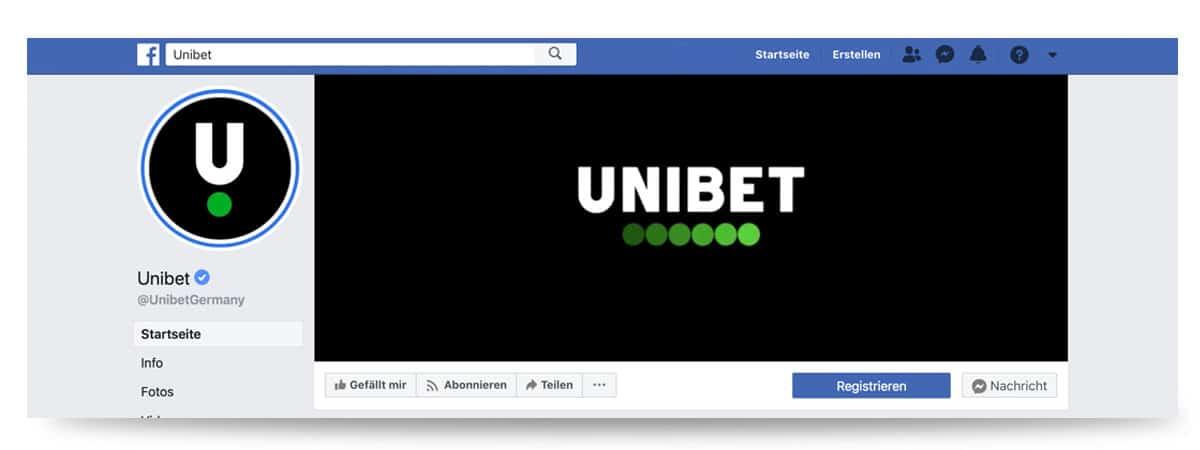Kontakt Facebookseite Unibet