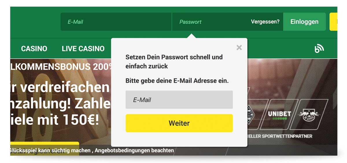 Passwort vergessen Unibet