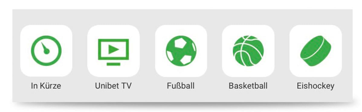 Auswahl Sportart Unibet App Menü