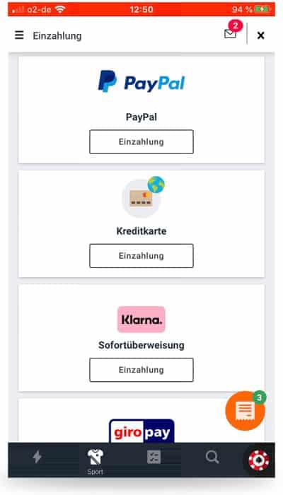 Einzahlung Betano App