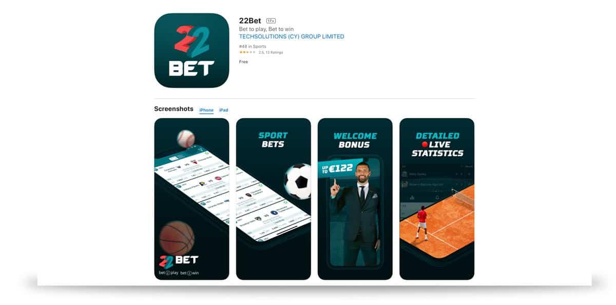 22bet iOS