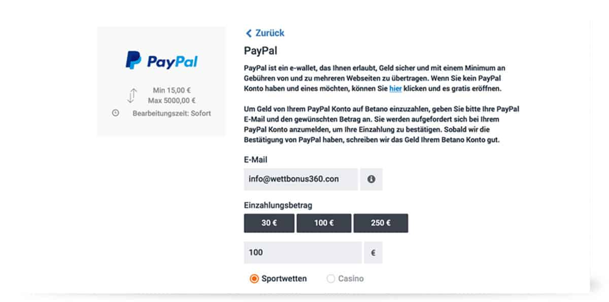 Einzahlung Paypal Betano
