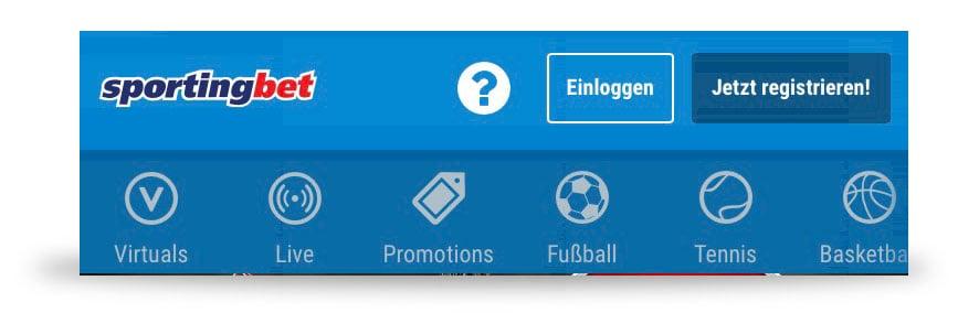 Navigation Sportingbet App
