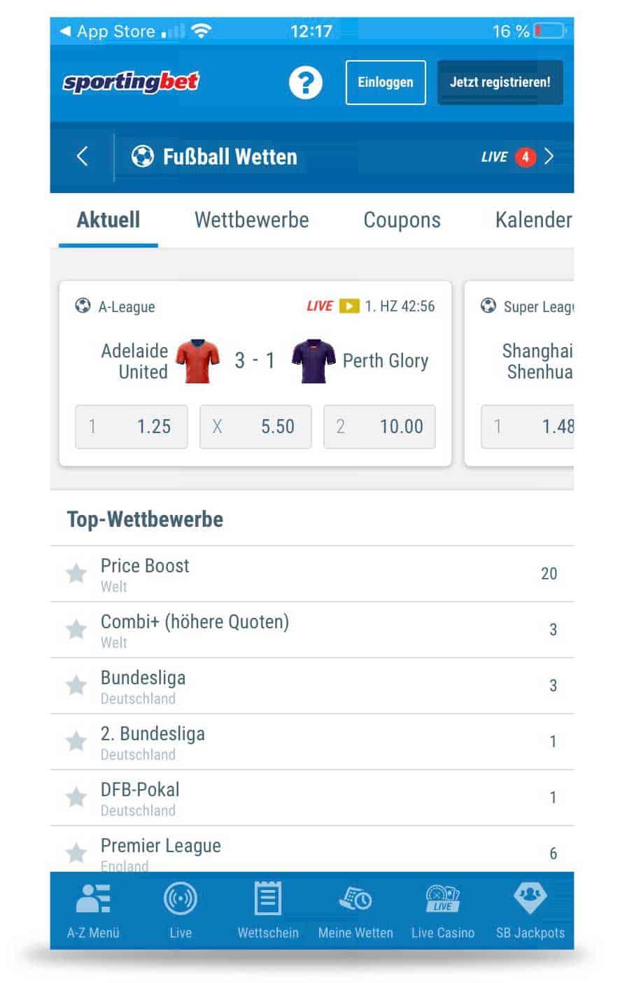 Wettangebot Sportingbet App