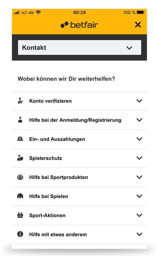 Betfair Kontakt App