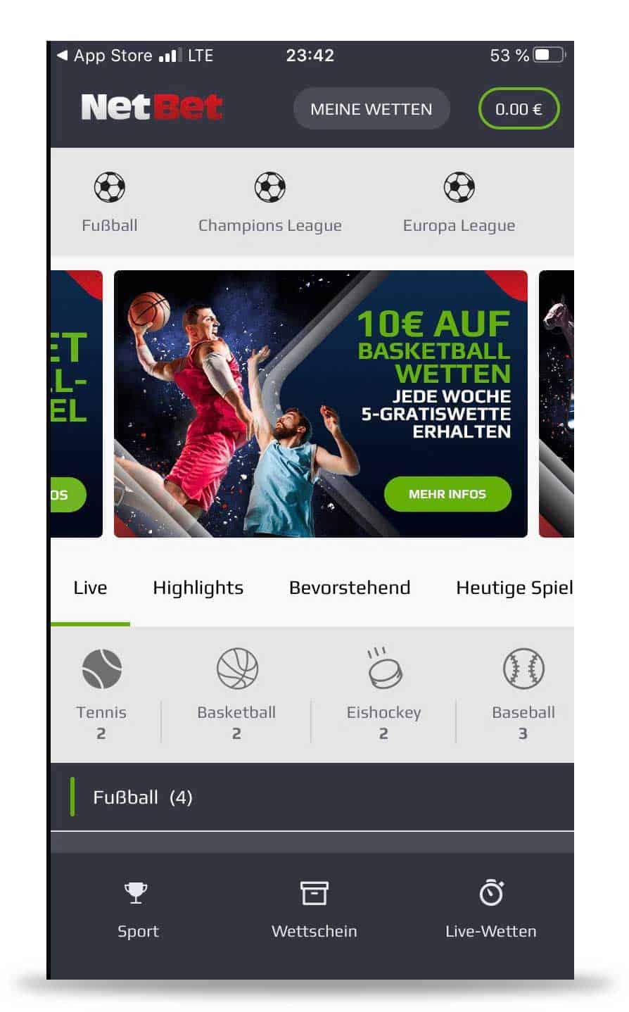 Netbet App Menü