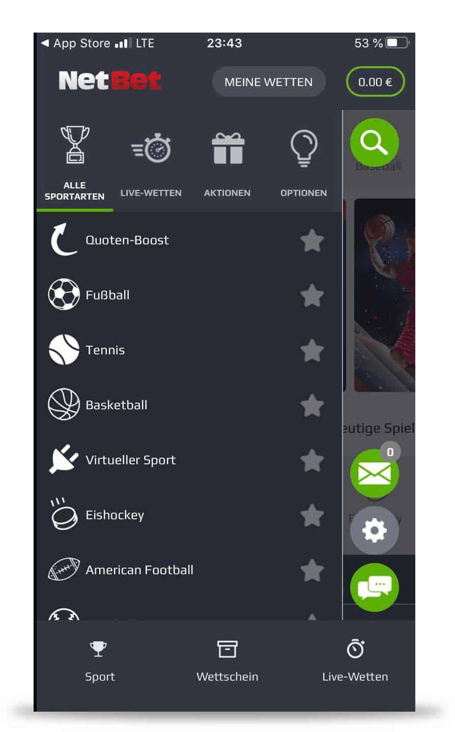 Wettauswahl Netbet App