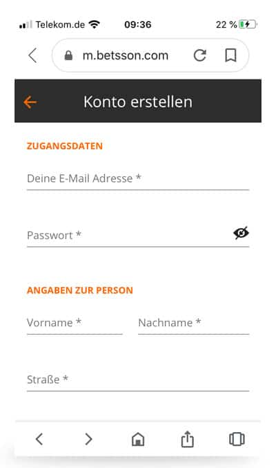 betsson Anmeldung Mobile