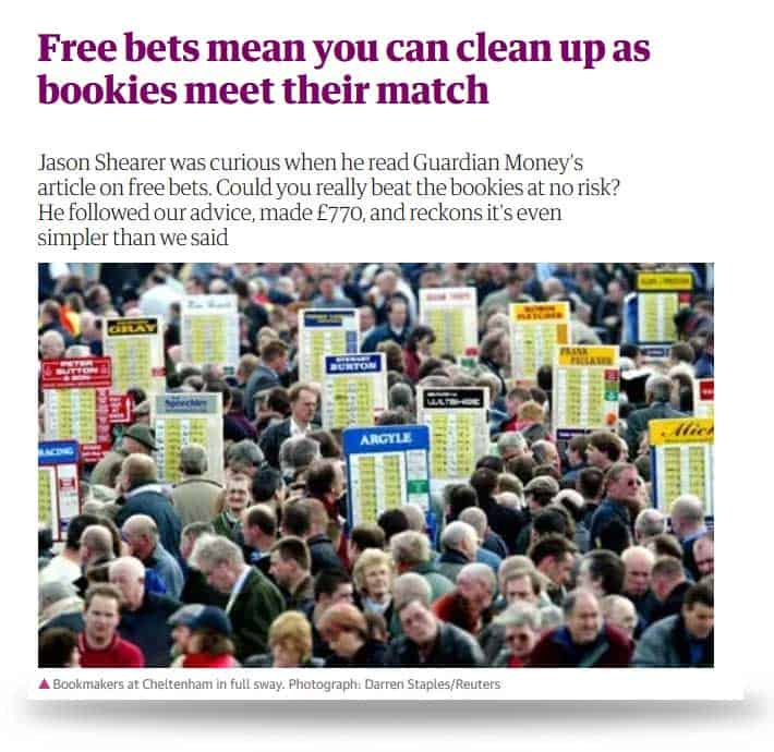 Zeitungsartikel Matched Betting in The Guardian