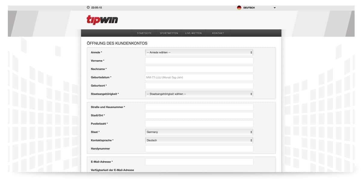 Anmeldeformular Tipwin
