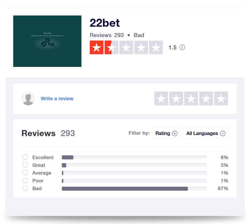 22bet Bewertung auf der Plattform Trustpilot
