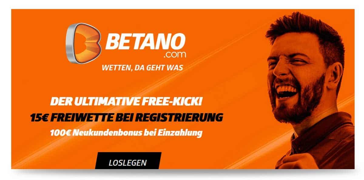 15 Euro Wettbonus ohne Einzahlung Betano