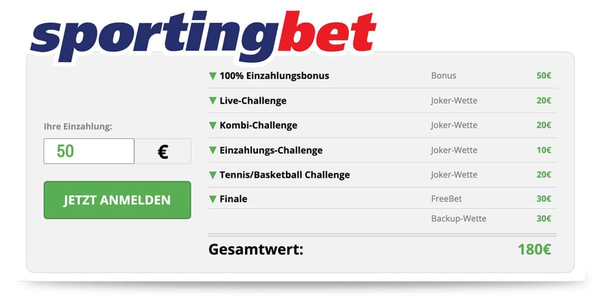 Sportingbet 30€ Gratiswette