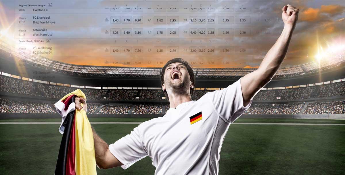 Deutscher Fan der Wettanbieter in Deutschland feiert