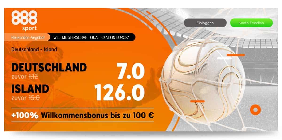 888sport Quotenboost mit der besten Wettquoten Deutschland Island 25.3.2021