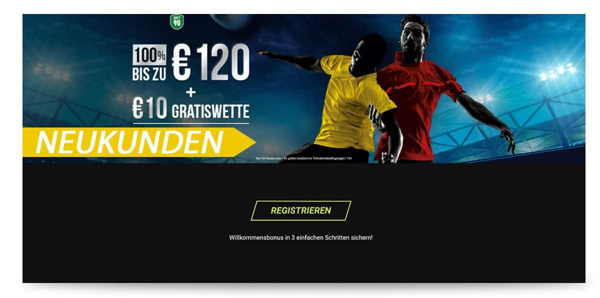 bet90 Angebot 10€ Gratiswette
