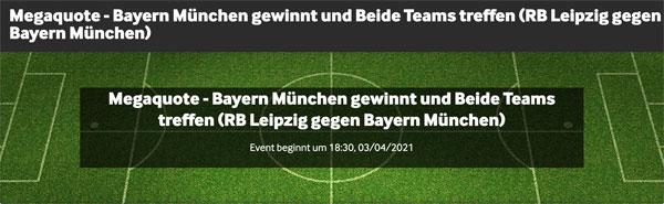 betway Quotenboost mit der besten Wettquoten Leipzig Bayern München 03.4.2021