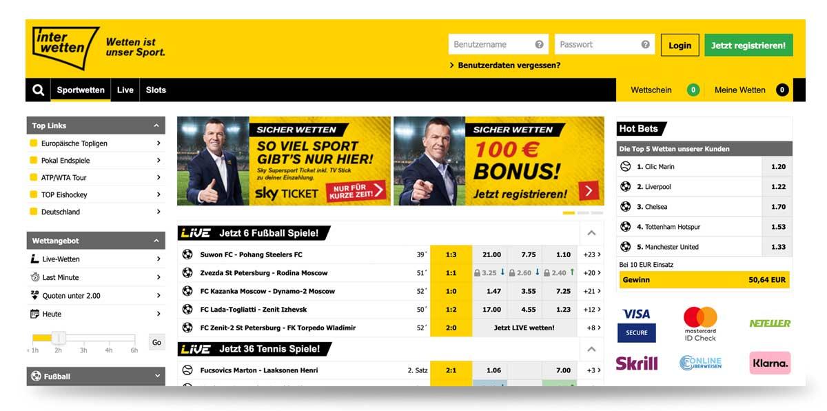 Webseite von Interwetten.de