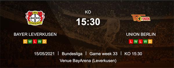tipp Leverkusen gegen Union Berlin 15.5.2021