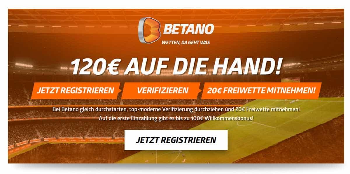 Betano 20€ Freiwetten ohne Einzahlung