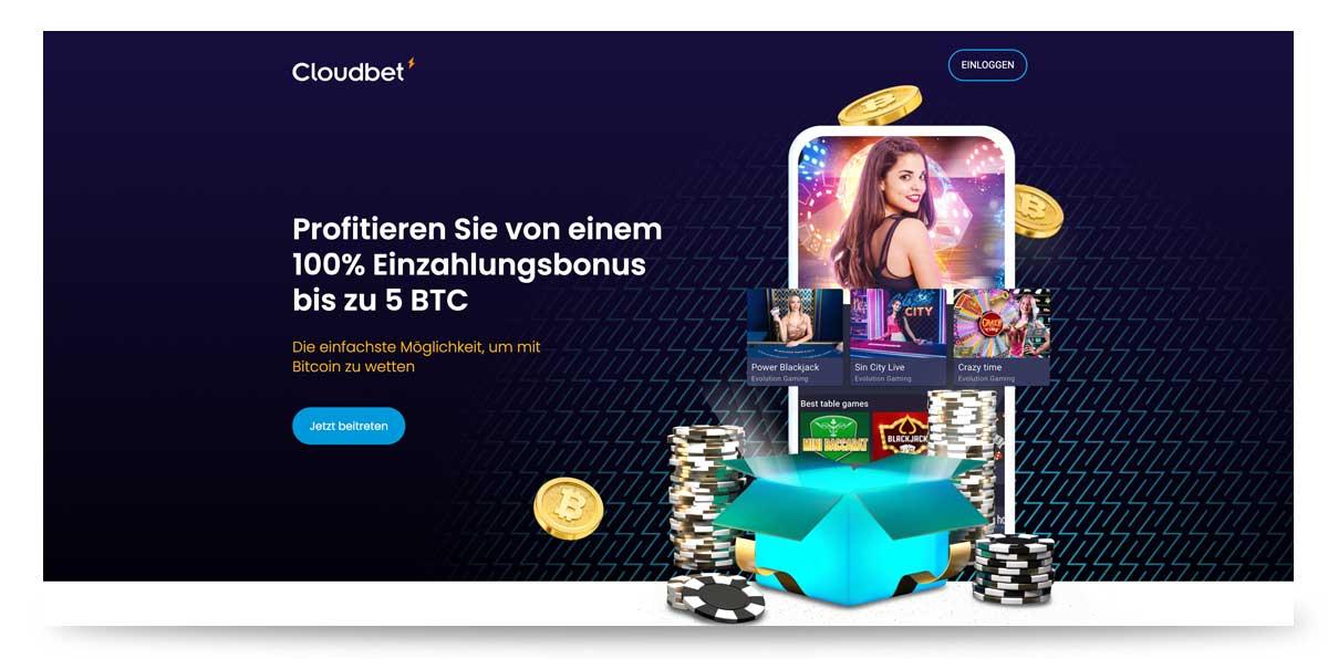 Cloudbet Bonus Angebot von bis zu 5 BitCoin
