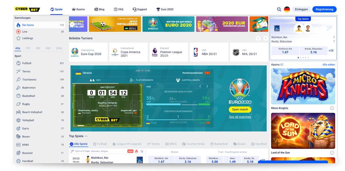 Startseite von www.cyber.bet