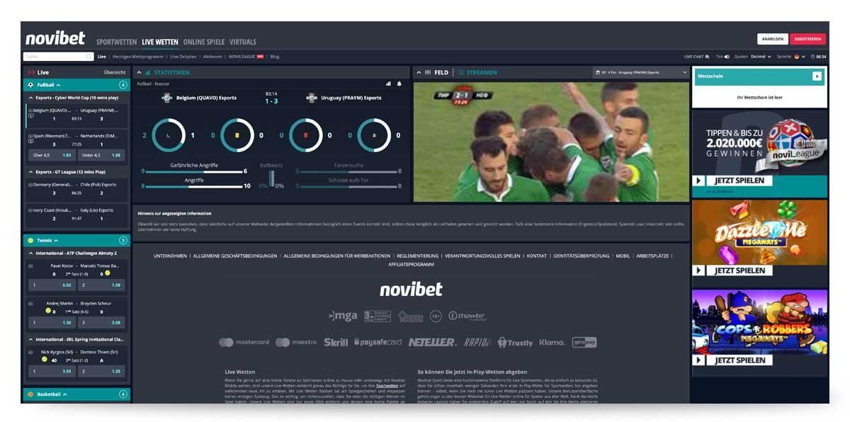 Novibet Livewetten und Livestreaming