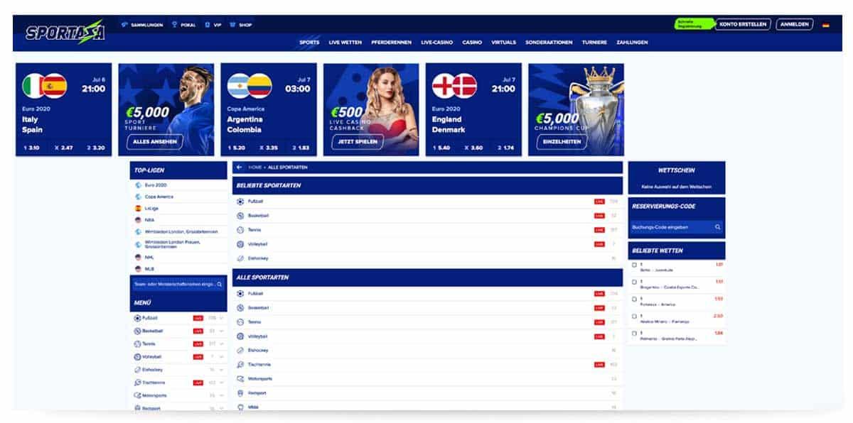Sportaza Startseite im Internet