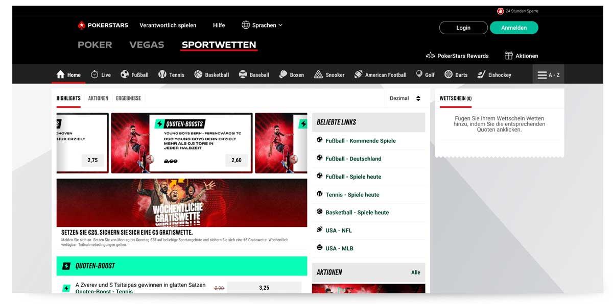 Startseite von pokerstarssports.de